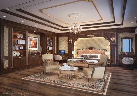 طراحی اتاق خواب کلاسیک #8 در اسکچاپ