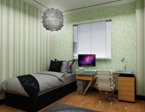 مدل آماده اتاق خواب کوچک #1 در اسکچاپ