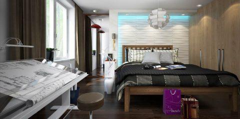 مدل آماده اتاق خواب زوج معمار در اسکچاپ