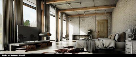 طراحی اتاق خواب سوپر مدرن #3 در اسکچاپ