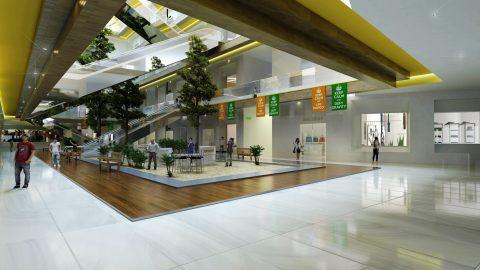 طراحی داخلی مرکز خرید مدرن در اسکچاپ