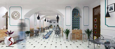 فایل طراحی کافه سنتی در اسکچاپ