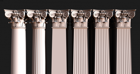 مجموعه آبجکت سر ستون ایونیک کلاسیک 1