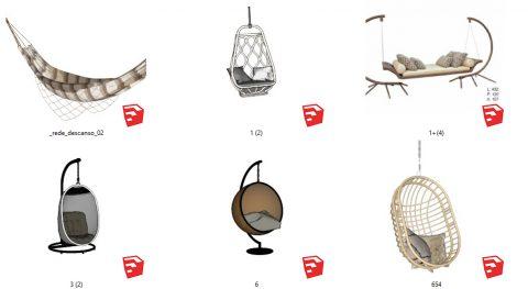 دانلود انواع آبجکت های با کیفیت صندلی تابی در اسکچاپ 01