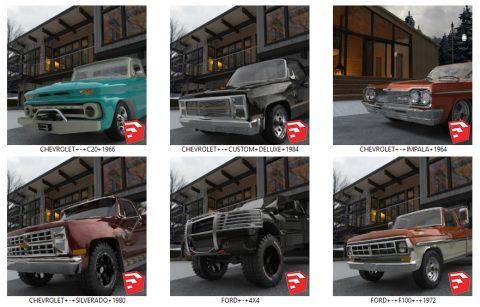 دانلود انواع آبجکت ماشین های کلاسیک و آفرود در اسکچاپ 01