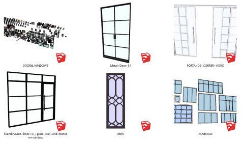 دانلود انواع آبجکت درب و پنجره های شیشه ای در اسکچاپ