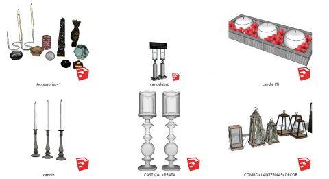 دانلود انواع آبجکت های شمع و جا شمعی دکوراتیو 01