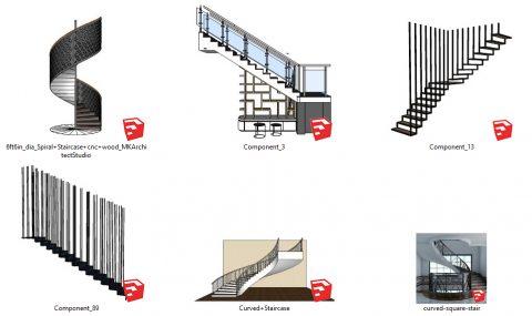 دانلود انواع آبجکت های پله های دکوراتیو و مدرن در اسکچاپ 01