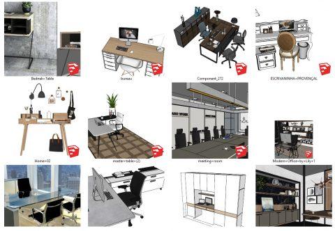 دانلود انواع میز های اداری اسکچاپ 01