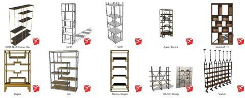 دانلود انواع آبجکت قفسه های دکوراتیو و مدرن در اسکچاپ