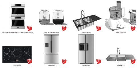 دانلود انواع آبجکت لوازم برقی و سینک ظرف شویی آشپزخانه در اسکچاپ 01