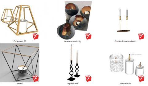 دانلود انواع آبجکت های شمع و جا شمعی دکوراتیو 02