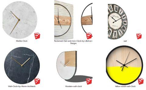 دانلود انواع آبجکت های ساعت دیواری دکوراتیو در اسکچاپ 02