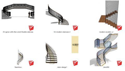 دانلود انواع آبجکت های پله های دکوراتیو و مدرن در اسکچاپ 02