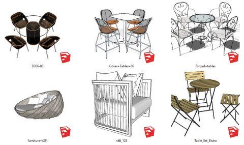 دانلود انواع میز و صندلی های محوطه در اسکچاپ 02