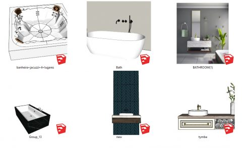 دانلود انواع آبجکت های سرویس بهداشتی و حمام اسکچاپ 02