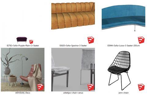 دانلود انواع آبجکت مبلمان و صندلی مدرن در اسکچاپ 02