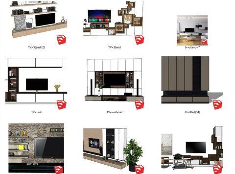دانلود انواع ست میز تلویزیون اسکچاپ 01