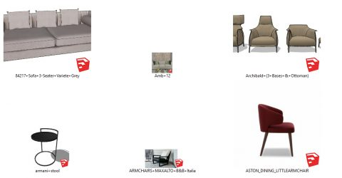 دانلود انواع آبجکت مبلمان و صندلی مدرن در اسکچاپ 03