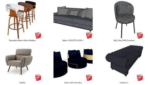 دانلود انواع آبجکت مبلمان و صندلی مدرن در اسکچاپ 04