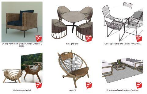 دانلود انواع میز و صندلی های محوطه در اسکچاپ 01