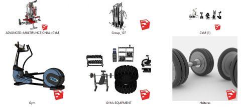 دانلود انواع آبجکت های لوازم ورزشی باشگاه در اسکچاپ 01